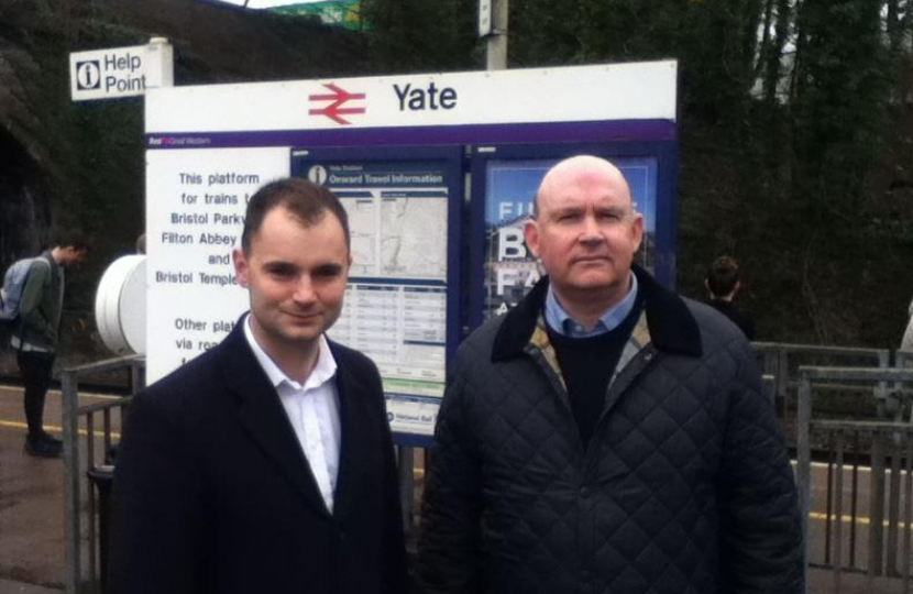 Luke and Cllr Matthew Riddle at Yate Station