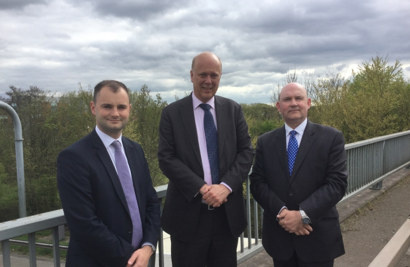 Luke Hall, Tim and Chris Grayling at the site