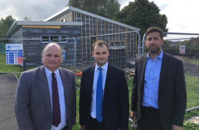 Local MP Luke Hall with Cllrs Matthew Riddle and Toby Savage