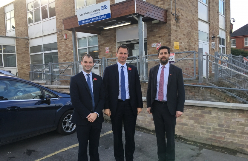 Luke Hall MP with Jeremy Hunt and Cllr Toby Savage